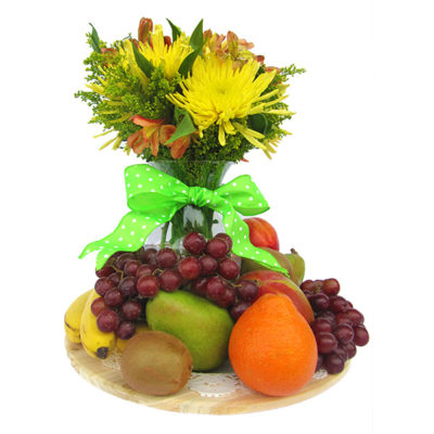 Fresh Flowers & Fruit Gift Basket